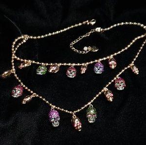 🏴☠️☠️Betsy Johnson Rhinestone Skull Necklace